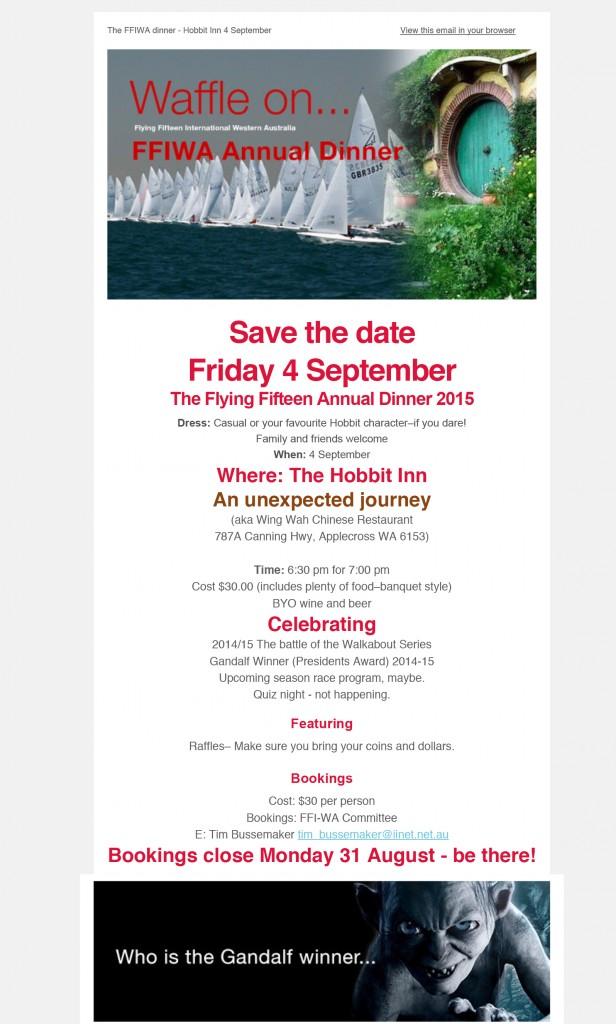 FFIWA Annual Dinner - The Hobbit Inn, An unexpected Journey 2015